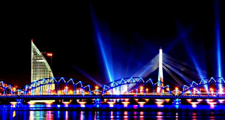 city lights reflection riga water front high contrast hd wallpaper 1790150